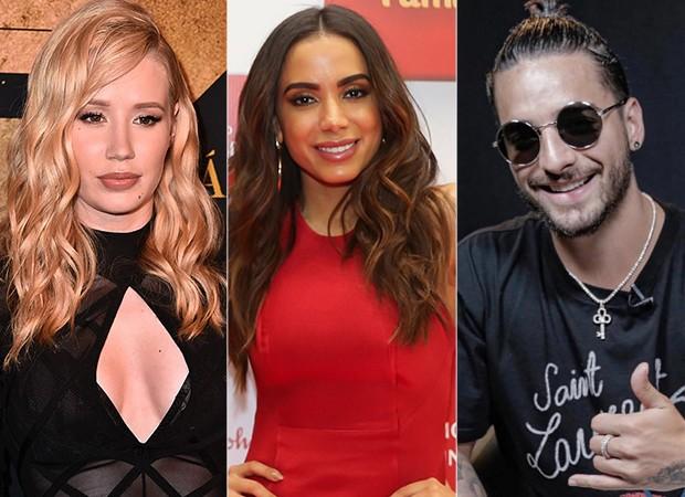 Iggy Azalea, Anitta e Maluma (Foto: Getty Images/ Manuela Scarpa/Brazil News/ Reprodução/ Instagram)