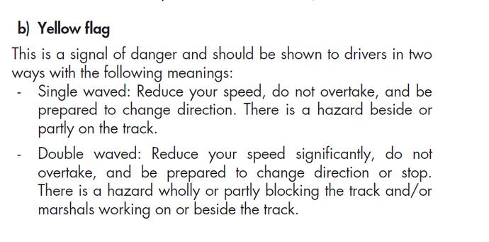 Trecho do Código Esportivo da FIA diz que piloto deve se preparar para parar em caso de bandeira amarela dupla (Foto: Reprodução)