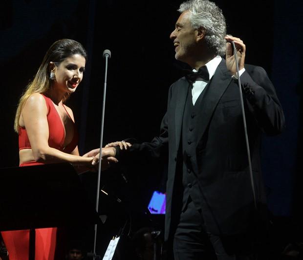 Paula Fernandes e Andrea Bocelli (Foto: Francisco Cepeda/AgNews)