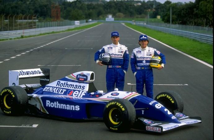 Damon Hill e Ayrton Senna na apresentação da Williams em 1994 (Foto: Getty Images)