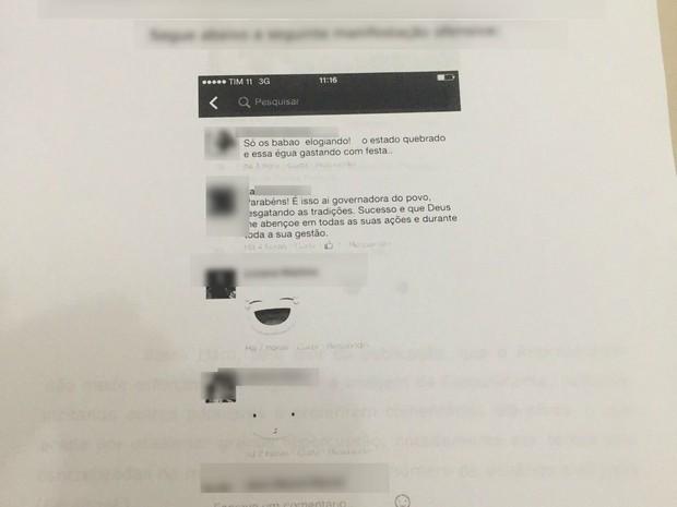 Jovem postou ofensa à governadora em Facebook (Foto: Reprodução)