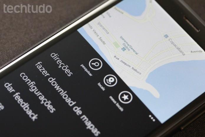 Nokia Maps: um dos grandes destaques do Windows Phone funciona sem gastar o pacote de dados (Foto: Allan Melo / TechTudo)