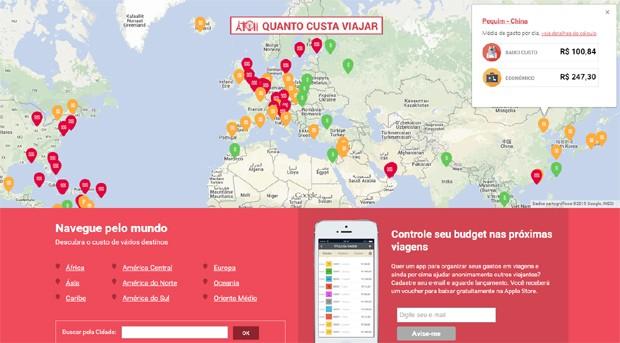 Página ajuda a prever gastos em outro país (Foto: Reprodução)