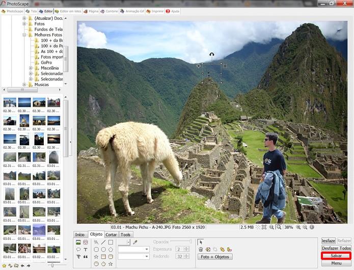 Lembre-se de salvar o resultado de sua montagem em um novo arquivo de imagem para preservar sua fotografia original (Foto: Reprodução/Daniel Ribeiro)