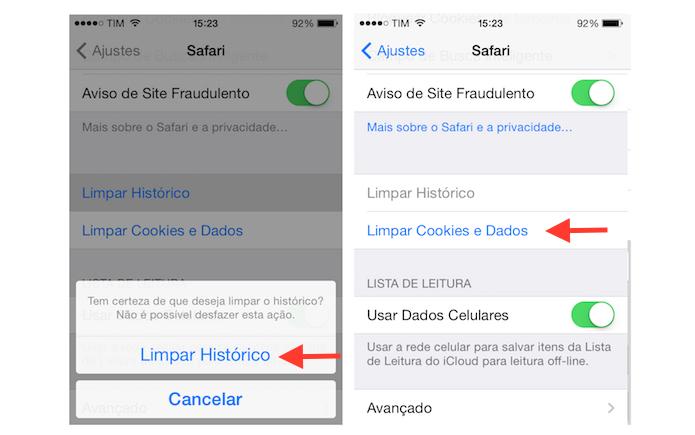 Limpando o histórico e iniciando a limpeza de dados de navegação do Safari do iPhone (Foto: Reprodução/Marvin Costa) (Foto: Limpando o histórico e iniciando a limpeza de dados de navegação do Safari do iPhone (Foto: Reprodução/Marvin Costa))