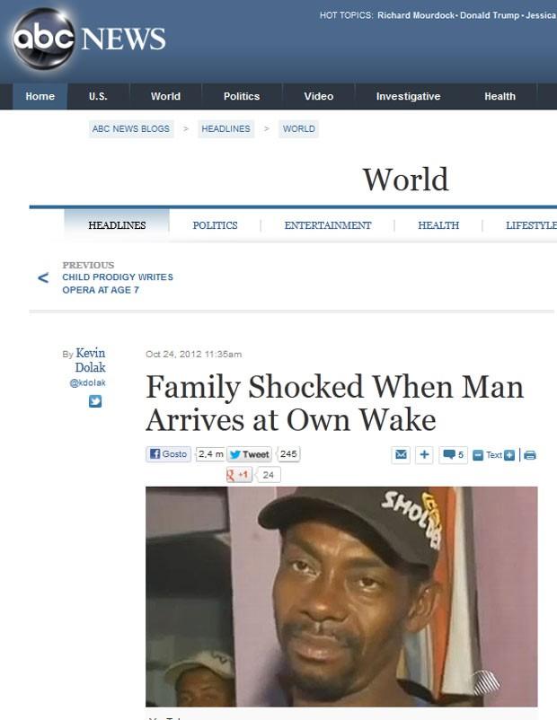 A rede ABC, dos EUA, exibiu reportagem em vídeo sobre a história do baiano Gilberto Araújo (Foto: Reprodução)