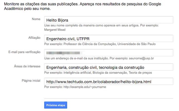 Cadastre seus dados pessoais para criar um perfil de autor (Foto: Reprodução/Helito Bijora)