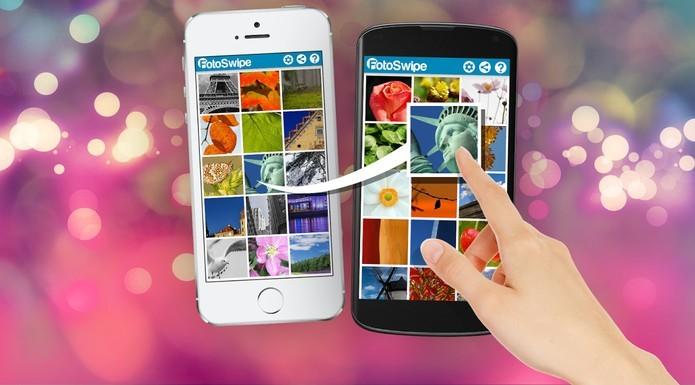 App FotoSwipe permite compartilhar imagens entre Android e iOS (Foto: Divulgação/FotoSwipe)fotoswipe
