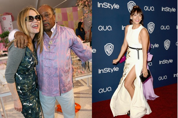 O produtor musical Quincy Jones, a modelo Peggy Lipton e a atriz Rashida jones (Foto: Getty Images)