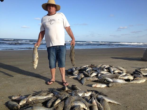Pescadores também capturaram tainhas em Balneário Rincão (Foto: Janine Limas/RBS TV)