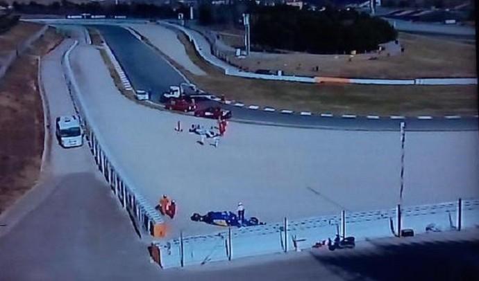 Felipe Nasr e Susie Wolff batem em teste da Fórmula 1 em Barcelona (Foto: Reprodução/Twitter)