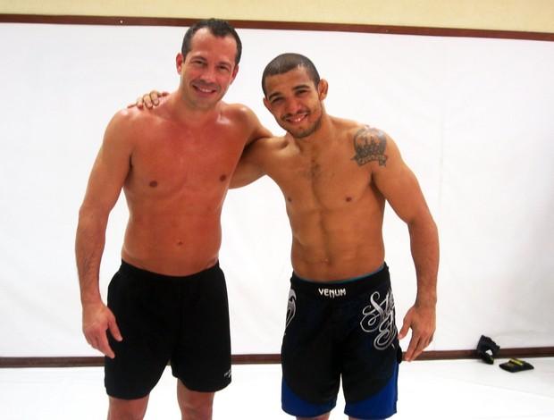 José Aldo e Malvino Salvador treinam juntos (Foto: Priscila Carvalho/TV Globo)