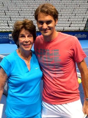 Maria Esther Bueno e Roger Federer tênis São Paulo (Foto: Divulgação)