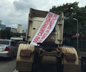 Caminhoneiros participam do protesto na Avenida Paulista (Foto: Helio Gurovitz)