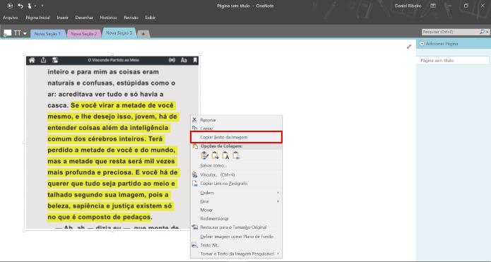 """Clique na imagem com o botão direito do mouse e selecione """"Copiar Texto da Imagem"""" (Foto: Reprodução/Daniel Ribeiro)"""