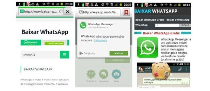 Sites com falso download do WhatsApp que provoca cobranças indevidas (Foto: Reprodução/ Kaspersky Lab)