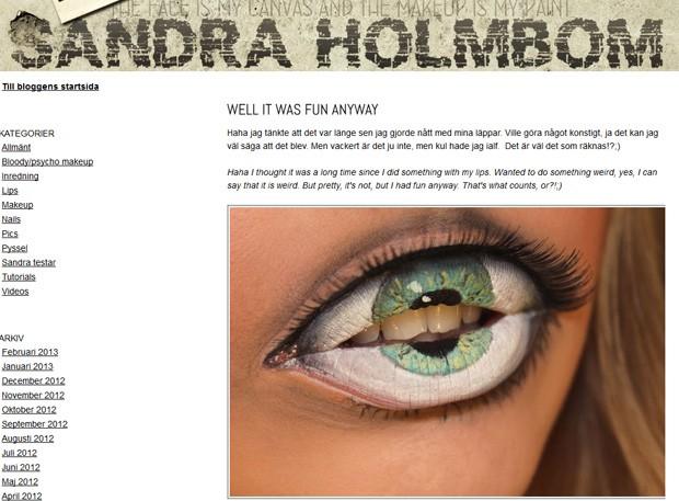 Artista pintou globo ocular nos lábios de modelo com direito a cílios postiços (Foto: Reprodução)