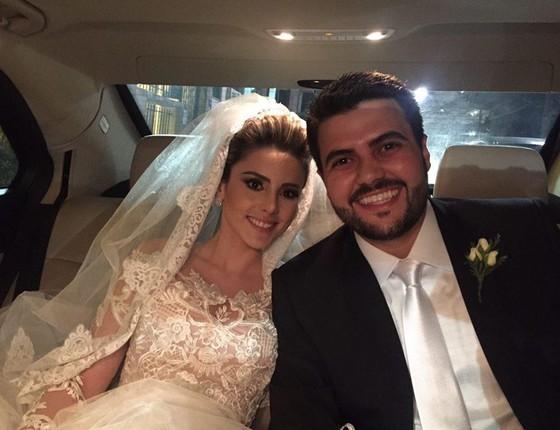 O deputado Wilson Santiago Filho posta a foto do casamento no Facebook (Foto: Reprodução/ Facebook)