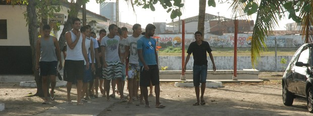 Greve dos jogadores do Botafogo-PB (Foto: Lucas Barros / Globoesporte.com/pb)