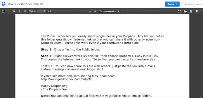 Visualizando o arquivo no DropBox (Foto: Reprodução/Edivaldo Brito)