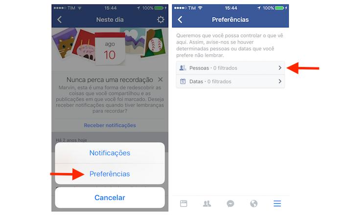 Acessando a ferramenta de filtro para pessoas na opção Neste Dia do Facebook para iPhone (Foto: Reprodução/Marvin Costa)