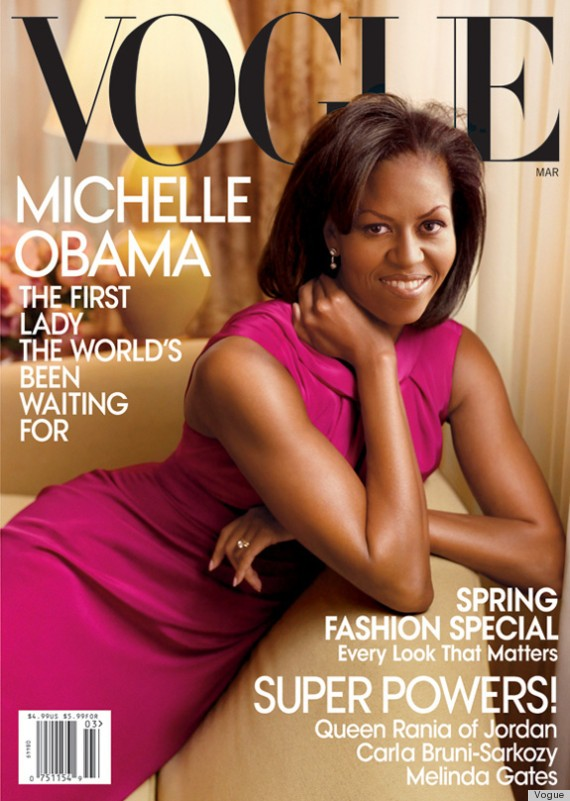 """Em março de 2009, Michelle Obama estrela faz seu début na capa da Vogue US: """"a primeira-dama que o mundo estava esperando"""" (Foto: Reprodução/Vogue US)"""