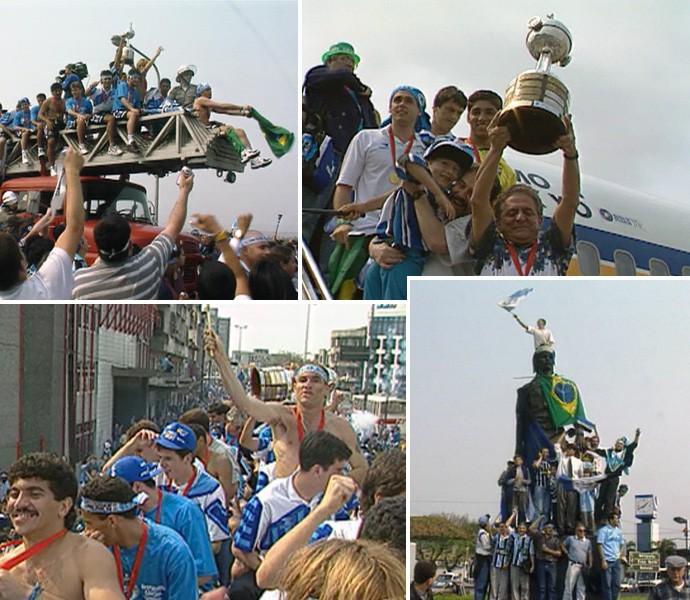 grêmio libertadores 1995 especial américa azul chegada porto alegre (Foto: Reprodução/RBS TV)