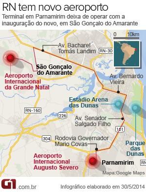 Novo aeroporto fica a 40 quilômetros da Via Costeira (Foto: Arte/G1)