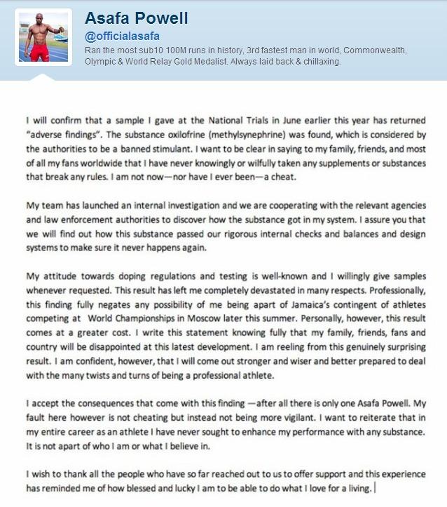carta asaffa powell doping atletismo (Foto: Reprodução/Twitter)