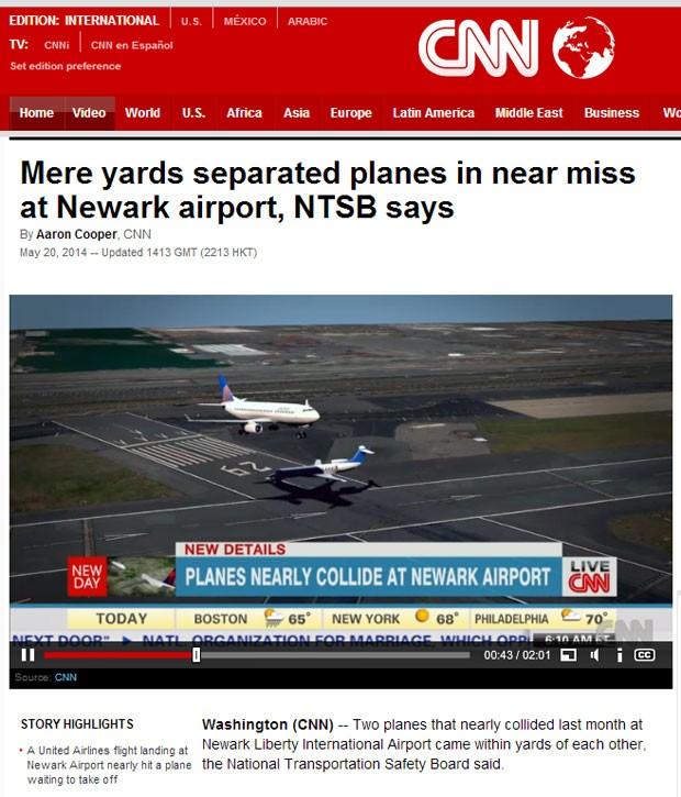 Site da emissora CNN mostra ilustração do momento em que os aviões passaram próximos (Foto: Reprodução/CNN)