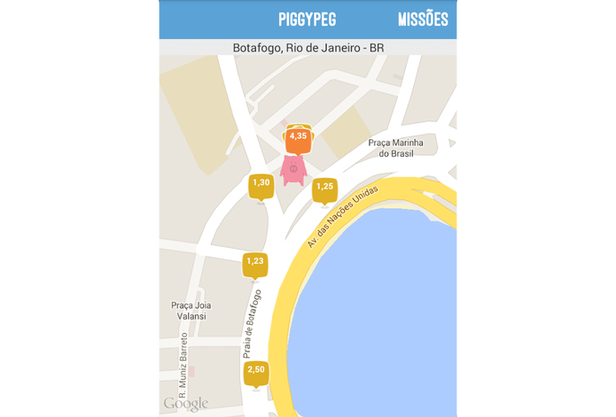 App PiggyPeg recompensa usuário a cada visita em estabelecimento parceiro (Foto: Reprodução/Paulo Alves)