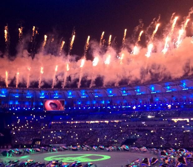 A cerimônia de abertura dos Jogos Olímpicos no Rio (Foto: Pedro Henrique França)