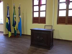 Sala do Plenário Bohemundo Álvares Affonso, no Memorial Anisio Gorayeb (Foto: Gaia Quiquiô/G1)