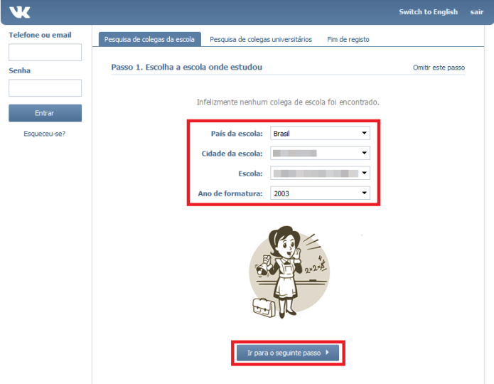 Inserindo informações para o novo perfil no VK (Foto: Reprodução/Lívia Dâmaso)