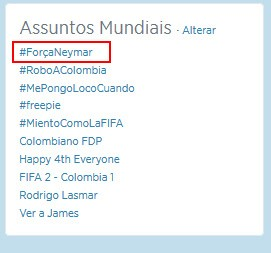 """Hashtag """"ForçaNeymar"""" está nos trending topics mundiais do Twitter (Foto: Twitter / Reprodução)"""