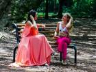 Angélica grava programa com Claudia Raia