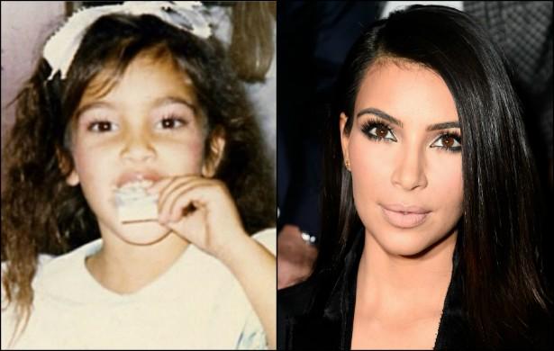 Ah, o tempo passa... Num momento ela é uma bela garotinha de laço na cabeça, décadas depois é a socialite mais onipresente na mídia de todos os tempos. Kim Kardashian, estrela do reality 'Keeping Up with the Kardashian', está prestes a completar 34 anos, no próximo dia 21. (Foto: Instagram e Getty Images)