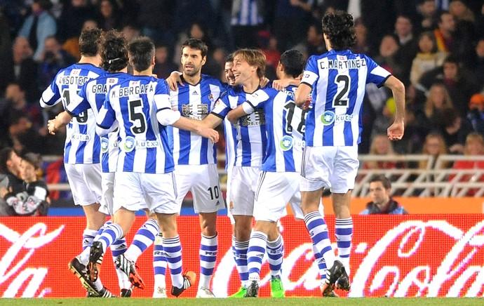 Comemoração do Real Sociedad contra o Barcelona (Foto: Agência AFP )