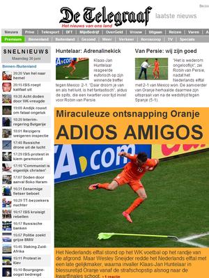 Telegraaf, jornal holandês (Foto: Reprodução)