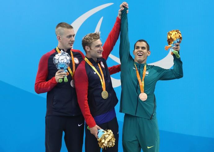 Bradley Snyder, Tharon Drake e Matheus Rheine podio 400m livre (Foto: Buda Mendes/Getty Images)