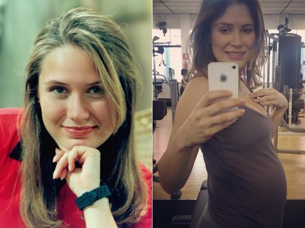 Antes e depois! À esquerda, Rachel Ripani como Silvia de Zazá e, à direita, mostrando a barriguinha de grávida (Foto: CEDOC / TV Globo / Arquivo pessoal)