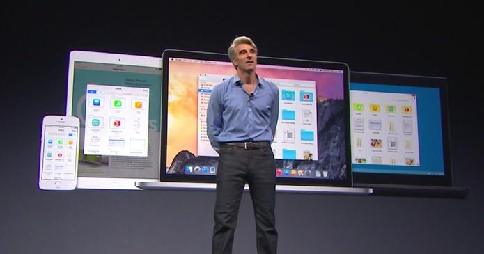 Apple alfinetou o Google e a Microsoft durante a apresentação do Mac OS X e o iOS 8 (Foto: Reprodução/Apple)