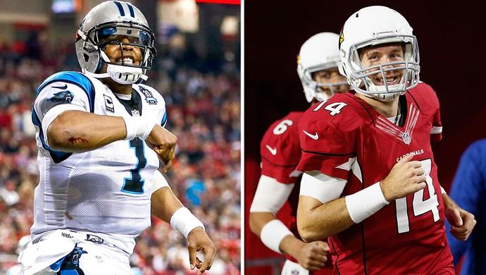 montagem NFL playoffs Cam Newton x Ryan Lindley (Foto: Editoria de Arte)
