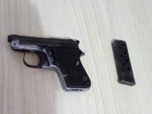 Pistola calibre 22 foi encontrada dentro de buraco (Foto: Divulgação)