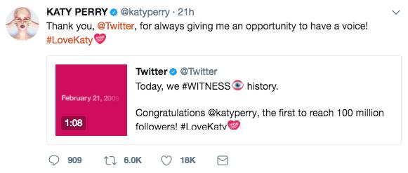 Katy Perry é a pessoa com maior número de seguidores no Twitter (Foto: Twitter/Reprodução)