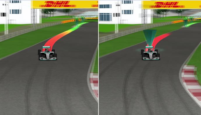 Comparação do mesmo trecho de volta com bandeira amarela (direita) com volta anterior (esquerda) mostra que Nico Rosberg tirou o pé no setor (Foto: Divulgação / FIA)