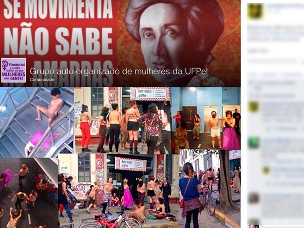 Protesto estudantes nuas UFPel Pelotas RS (Foto: Reprodução)