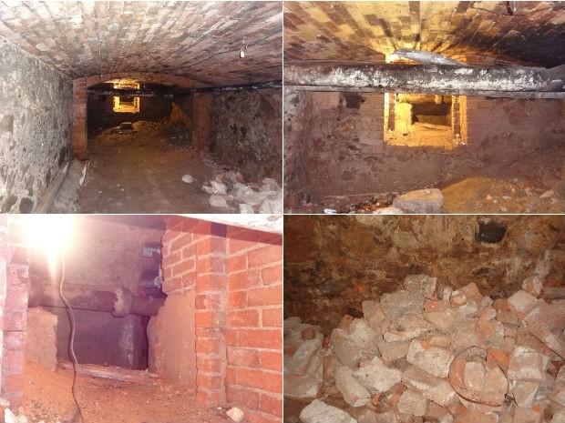 Túnel localizado em uma das sedes do Clube Curitibano (Foto: Adriana Justi / G1)