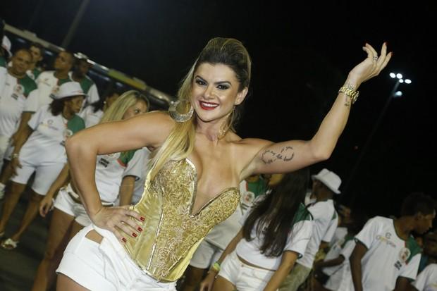 Mirella Santos em ensaio da Grande Rio na Marquês de Sapucaí, no Rio (Foto: Roberto Filho/ Ag. News)