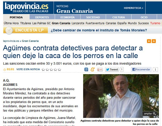 Prefeito de Agüimes, Antonio Morales Méndez, contratou detetives para